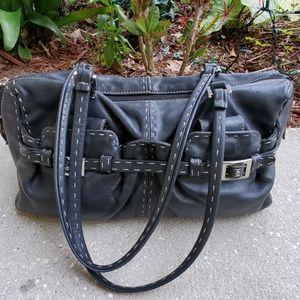 Rafe Black Leather Double Strsp Shoulder Bag